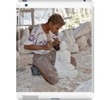 a boy chisels in workshop of Buddha Statues iPad Case/Skin