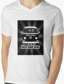 Best Dad Ever Black Sunburst Early Bay Mens V-Neck T-Shirt