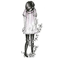 Girl with Butterfly Dress.  Photographic Print