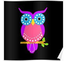 Owl Dots  Black Poster