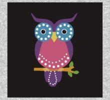Owl Dots  Black Kids Tee