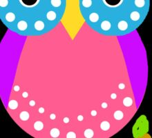 Owl Dots  Black Sticker