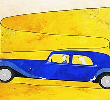 Blue car on the mountain pass by jripleyfagence
