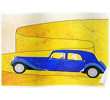 Blue car on the mountain pass Poster