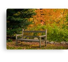 Garden Bench in Autumn Canvas Print