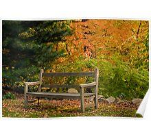 Garden Bench in Autumn Poster