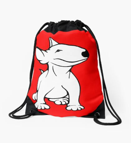English Bull Terrier Pup White Drawstring Bag