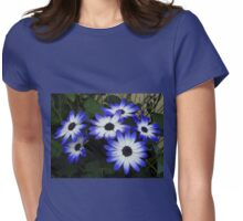 Blue and White Cinerarias at Dusk Womens Fitted T-Shirt