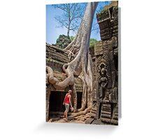 Cambodia. Angkor Thom. Giant Tree embracing Temple. Greeting Card