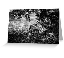 The antique chair under the tree in black and white Greeting Card