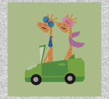 Giraffes and Car  Green Baby Tee