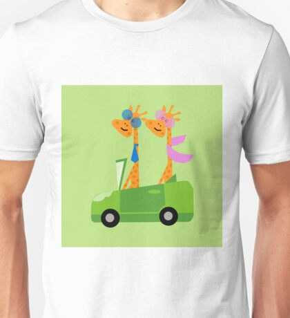 Giraffes and Car  Green Unisex T-Shirt
