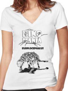 Dino Mania Euoplocephalus Women's Fitted V-Neck T-Shirt