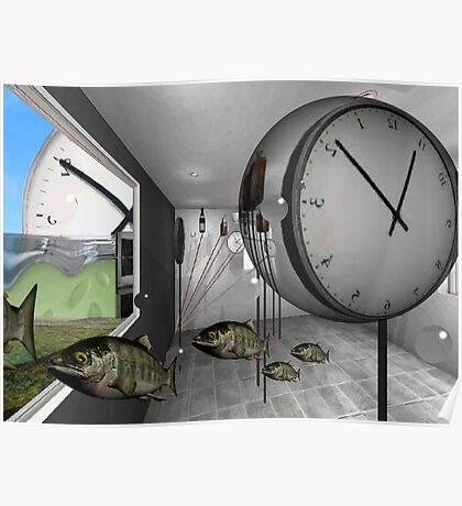 Clock and escaped fish Poster