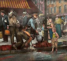 City - NY - Drinking water from a street pump 1910 by Mike  Savad