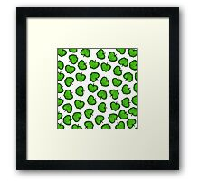 Cute Hand Drawn Green Fruity Apples Pattern Framed Print