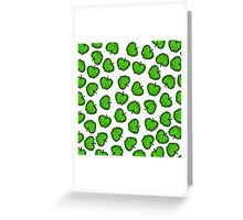 Cute Hand Drawn Green Fruity Apples Pattern Greeting Card