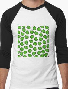 Cute Hand Drawn Green Fruity Apples Pattern Men's Baseball ¾ T-Shirt
