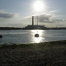 Fawley power station from Calshot spit, England's south coast by Philip Mitchell