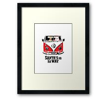 VW Camper Santa Father Christmas On Way Red Framed Print