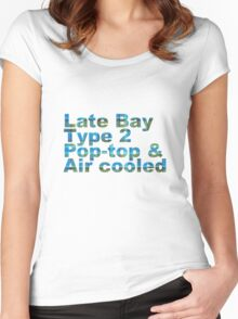 Late Bay Type 2 Pop Air Westfalia Plaid Women's Fitted Scoop T-Shirt