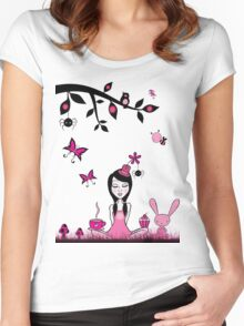 Pinky In Pinky Land T Women's Fitted Scoop T-Shirt