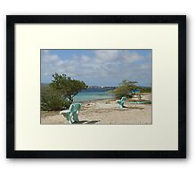 blue benches at the beach Framed Print