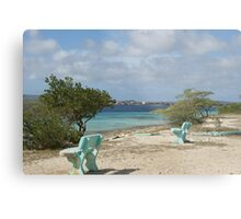 blue benches at the beach Metal Print