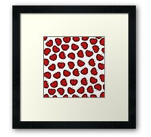 Cute Hand Drawn Red Fruity Apples Pattern Framed Print