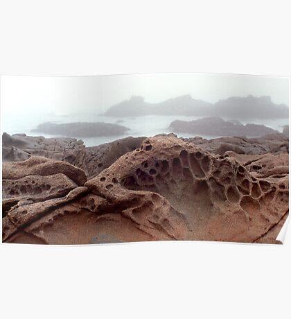 Cambria Rock in Fog Poster
