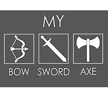 My sword, bow and axe Photographic Print