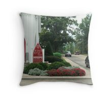 City Street Corner with Red Church Door Throw Pillow