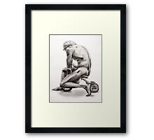 Man on Tricycle Framed Print