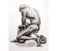 Man on Tricycle Photographic Print