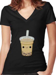 Cute Bubble Tea Women's Fitted V-Neck T-Shirt