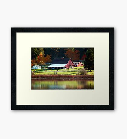 Red Barn & Autumn Reflections Framed Print