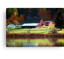 Red Barn & Autumn Reflections Canvas Print