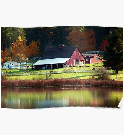 Red Barn & Autumn Reflections Poster