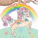 Granddaughter Birthday With A Sweet Watercolor Prancing Pony by Moonlake