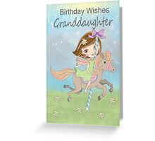 Granddaughter Birthday With A Girl Riding A Carousel Horse Greeting Card
