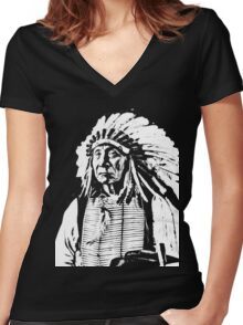 CHIEF RED CLOUD Women's Fitted V-Neck T-Shirt