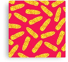 Funny Cute Hand Drawn Corn on the Cob on Neon PInk Canvas Print