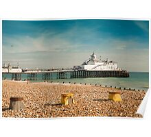 Eastbourne Pier and Beach. East Sussex, UK. Poster