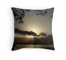 Golden Bay Ray Sunset Throw Pillow