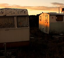 Sunset Caravans, Birdlings Flat by Steven Carpinter