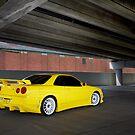 Yellow Nissan Skyline R34 by John Jovic