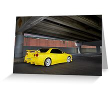 Yellow Nissan Skyline R34 Greeting Card