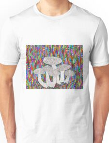 ordinary mushrooms in a psychedelic world  Unisex T-Shirt