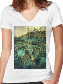 River Dragon Women's Fitted V-Neck T-Shirt
