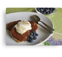 Crumpets, cream and blueberries Canvas Print